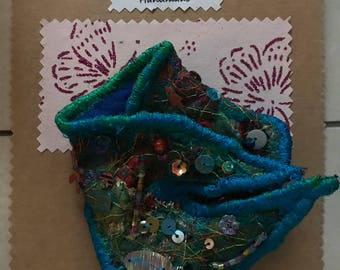 Handmade Brooch Recycled Fabric Machine & Hand Embroidered Sequins Beading Blue Green