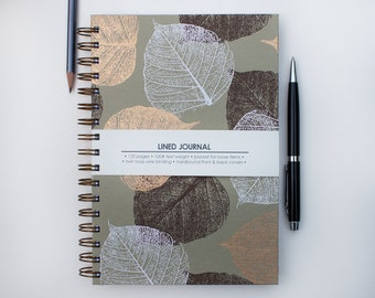 Brown, White, & Gold Leaves on Khaki Journal – 6x9 inch Journal with Lined Pages – Bullet Journal Notebook – Lined Journal – Spiral Journal