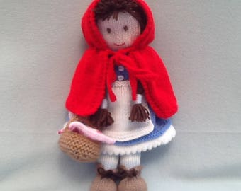 Hand knitted doll, Little Red Riding Hood, girls gift, soft toy.