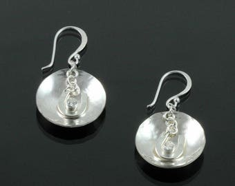 Handmade Hammered Lucky Saucer Earrings with Cubic Zirconia