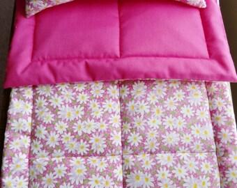 "White Daisiy Doll Bedding,  Doll Blanket Doll Pillow, Doll Bedding Set, Doll Bedding, 18"" Doll Bedding, Doll Comforter Set, White Daisy New"