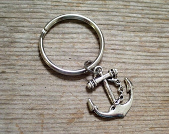 Silver Nautical Anchor Keychain, Father's Day, Sailor Key Chain, Antiqued Silver Ship Anchor Keyring, Chrome Plated Keychain Key Ring