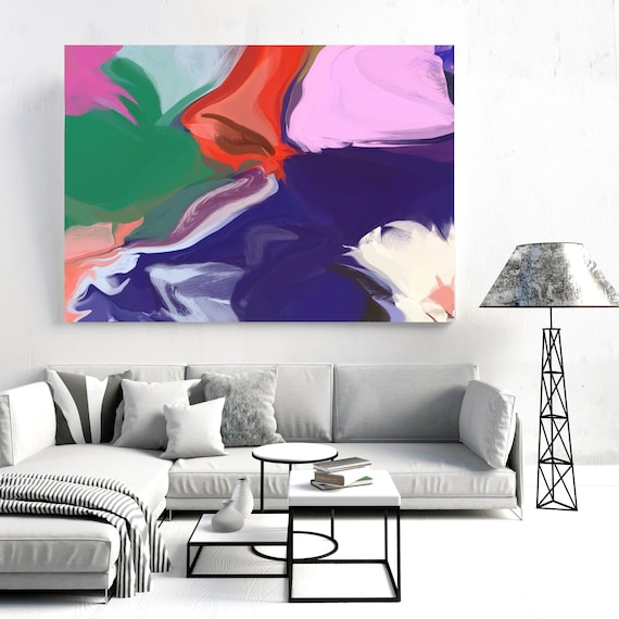 "Courage of Time 2, Abstract Painting Modern Wall Art Painting Canvas Art Print Art Modern Purple Pink Green Yellow up to 80"" by Irena Orlov"