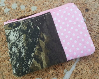 Pink Camo Coin Purse, Zipper Pouch, Camo Zipper Bag, Ear Bud Pouch, Pink Camo Pouch, credit card pouch