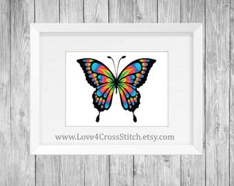 Rainbow Butterfly Cross Stitch Pattern Modern, Rainbow Cross Stitch, PDF Download, Funny Cross Stitch, Large Butterfly Cross Stitch