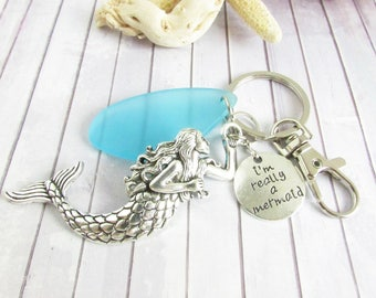 Mermaid Keychain, Sea Glass Keychain, Really a Mermaid, Mermaid Gift, Gift for Her, Car Accessories, Seaglass Keychain, Mermaid Keyring