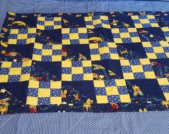 Handmade Blue and Yellow cotton baby Quilt