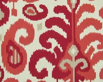 Two 20 x 20  Custom Designer Decorative Pillow Covers  - Duralee Large Ikat - Red