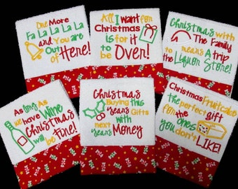 Christmas Kitchen Towel Sayings Set