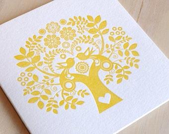 Valentine's Mothers day Spring, Letterpress Summer Sunshine Card Scandinavian Folk Style yellow mustard Tree of Life made in Australia