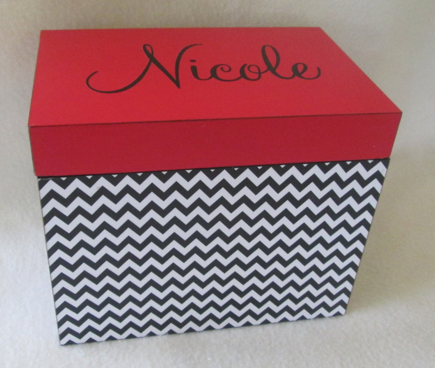 5x7 Recipe Box Red And Black Chevron Large Personalized