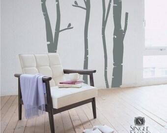 Birch Trees Wall Decal Set of 4 Custom Home Decor