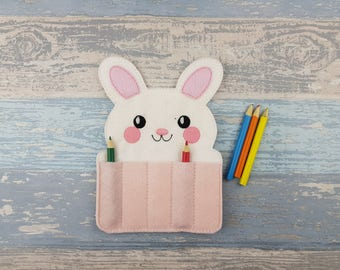 Bunny Crayon Holder - Toddler Gift - Crayon Gift - Arts and Crafts - Back To School - Travel Case - Party Favor - Stocking Stuffer