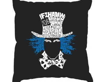 Throw Pillow Cover - Word Art - The Mad Hatter