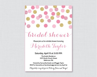 Pink and Gold Bridal Shower Invitation Printable or Printed - Pink and Gold Glitter Dots Bridal Shower Invites - Gold Glitter Bridal 0001-P