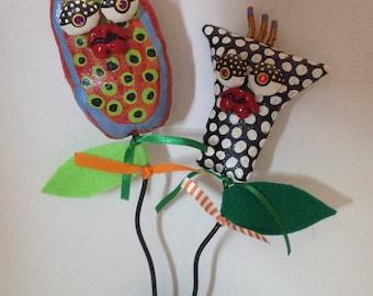 Mixed Media Soft Sculpture Flowers
