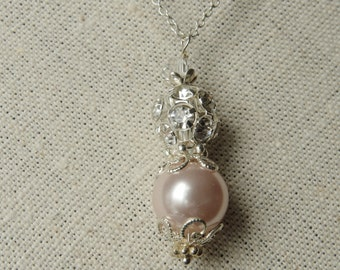Tea Rose Pearl Necklace Pendant Necklace   Bridesmaid Pearl Jewelry Simple Necklace Rhinestone Pearl Necklace Bridesmaid Gift Bridal Party