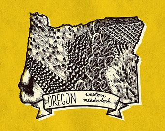 Oregon State Bird Print- Western Meadowlark, 8x10 inches.