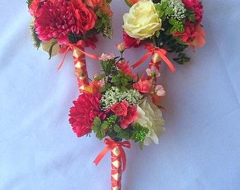 Pink Summer Bridal Bouquet Set