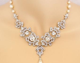 Wedding Necklace Swarovski Pearl Rhinestone Necklace Bridal Necklace Wedding Jewelry Wedding accessory Bridal Jewelry Necklace Love