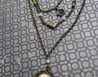 Courting Couple Vintage Style Triple Strand Necklace
