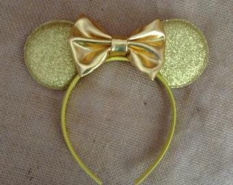 Gold Mouse Ears-Gold Glitter ears- Halloween,costume,vacation,ears,Mouse,Photo prop,summer fun,Gold Bow Headband,mouse ear headband