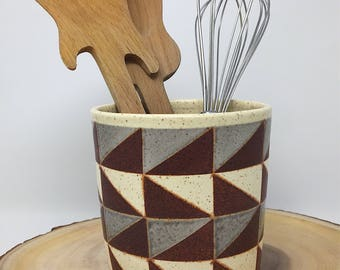 Handmade Ceramic Utensil Holder - Ceramic Vase - Ceramic Pot - Ceramic Dish - Patterned Ceramics