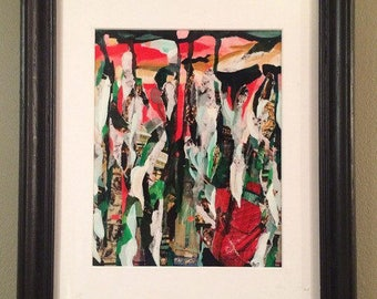 Abstract art, Original abstract painting, mixed media collage, red and green wall art, advertisement inspired art