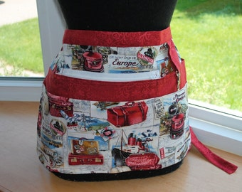 Handmade Vendor Apron Zipper Vendor Apron European Travelers Red Apron Farmers Market Teacher Craft Server Gardener Cash Pockets Blue Green