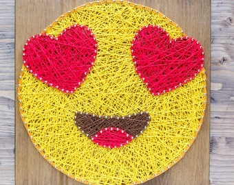 In-love emoji string art kit, string art kit for adults and kids, quality tools included, step by step string art DIY kit