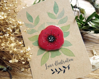 Poppy Flower Brooch Pin // Resin Shrink Plastic Pin // Hand Painted Gouache Brooch // Handmade Accessory // Floral Jewellery Gift