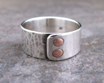Men's Double Copper Riveted Sterling Silver Ring