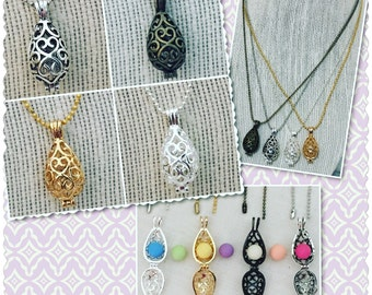 """Essential Oil Clay Aroma Bead Teardrop Pendant Diffuser 18"""" Necklace Gold Antique Silver or Brass Silver Aromatherapy Locket 12mm x 28mm"""