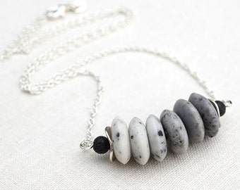 Raw Stone Necklace White Gray Ombre Stone Necklace Bar Necklace Black Lava Stone Necklace Sterling Silver Modern Minimalist Simple Necklace
