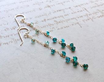Aqua Ombre Earrings, Long Apatite Earrings, Teal Gemstone Earrings, Long Aqua Dangle Earrings