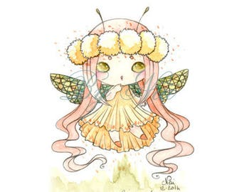 Mini watercolor painting of a fairy Dragonfly manga style