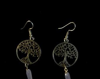 Blue Quartz Spike Tree of Life Earrings
