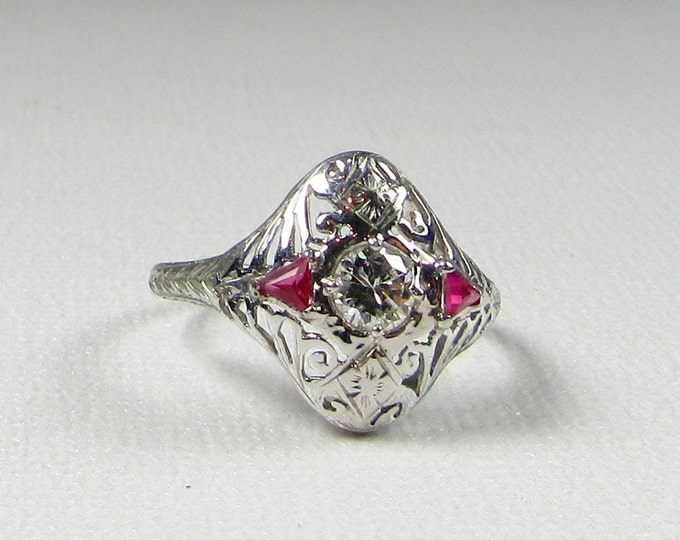 White Gold Diamond and Synthetic Ruby Ring; Edwardian Diamond and Ruby Ring; Cocktail Ring; Diamond Dinner Ring