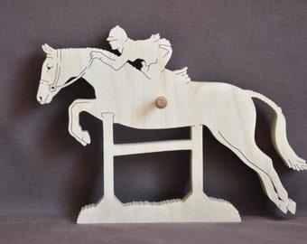 English Jumping Jumper Riding  Horse Show Ribbon Display Wood Wall Hanging