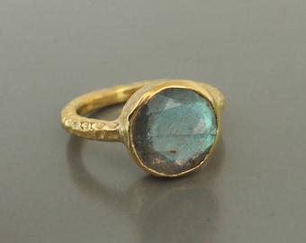 Gold Ring - Labradorite Ring - Size 6 - Grey Ring - Blue Ring - Gemstone Ring - Round Stone Ring - Hammered Gold Ring