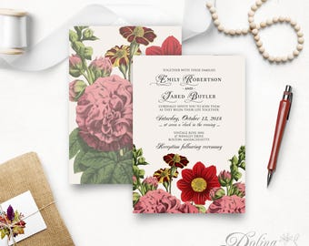 Printable Wedding Invitation Garden Wedding Invitation Outdoor Wedding Rustic Floral Wedding Fall Flowers Wedding Invitation Front and Back