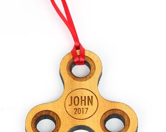 Fidget Spinner Ornament. Personalized with name and year fight spinner for the tree. Kids Ornament, teen, solid wood ornament, Christmas