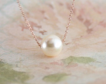 Floating pearl necklace,pearl necklace,pearl wedding jewelry,pearl bridesmaid necklace,bridal necklace,wedding jewelry,swarovski,10mm pearl