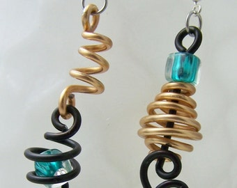 Handmade Aluminum Mix Up earrings in gold, black, turquoise, trendy and fun ITEM NO MU3