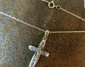 10K Gold Cross Pendant on 10K Gold Chain