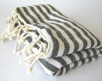 Turkish Towel Handwoven Peshtemal, Bath, Beach, Black Striped, mom, summer coverups, bridesmaid, mother's day
