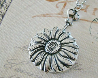Silver Sunflower Locket Birthday Mother Gift Sunflower Necklace Wedding Bride Bridesmaid Daughter Anniversary Photo Pictures - Wynona