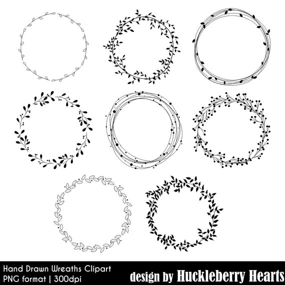 wreath clipart hand drawn digital wreaths wedding clipart rh etsy com wreath clip art black and white wreath clip art frames