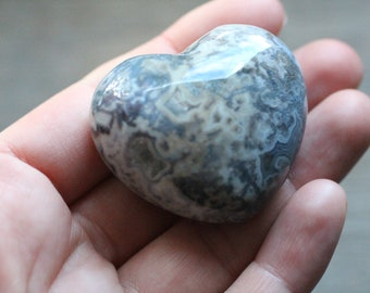 Moss Agate Large Puffy Heart # 87163