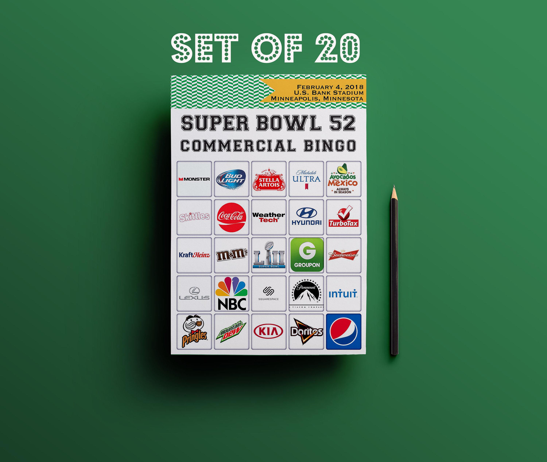 2018 Super Bowl / 20 Commercial BINGO Printable Set // Super